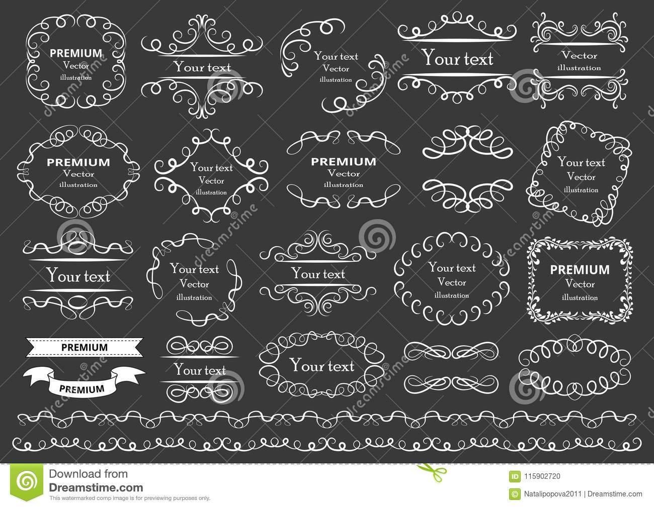 Calligraphic design elements . Decorative swirls or scrolls, vintage frames , flourishes, labels and dividers. Retro vector illust