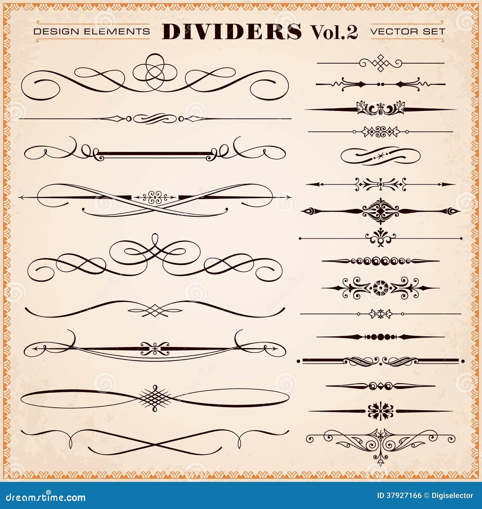 Calligraphic Design Elements Dividers Dashes Set Vector Vintage Page Decoration Retro Typographic
