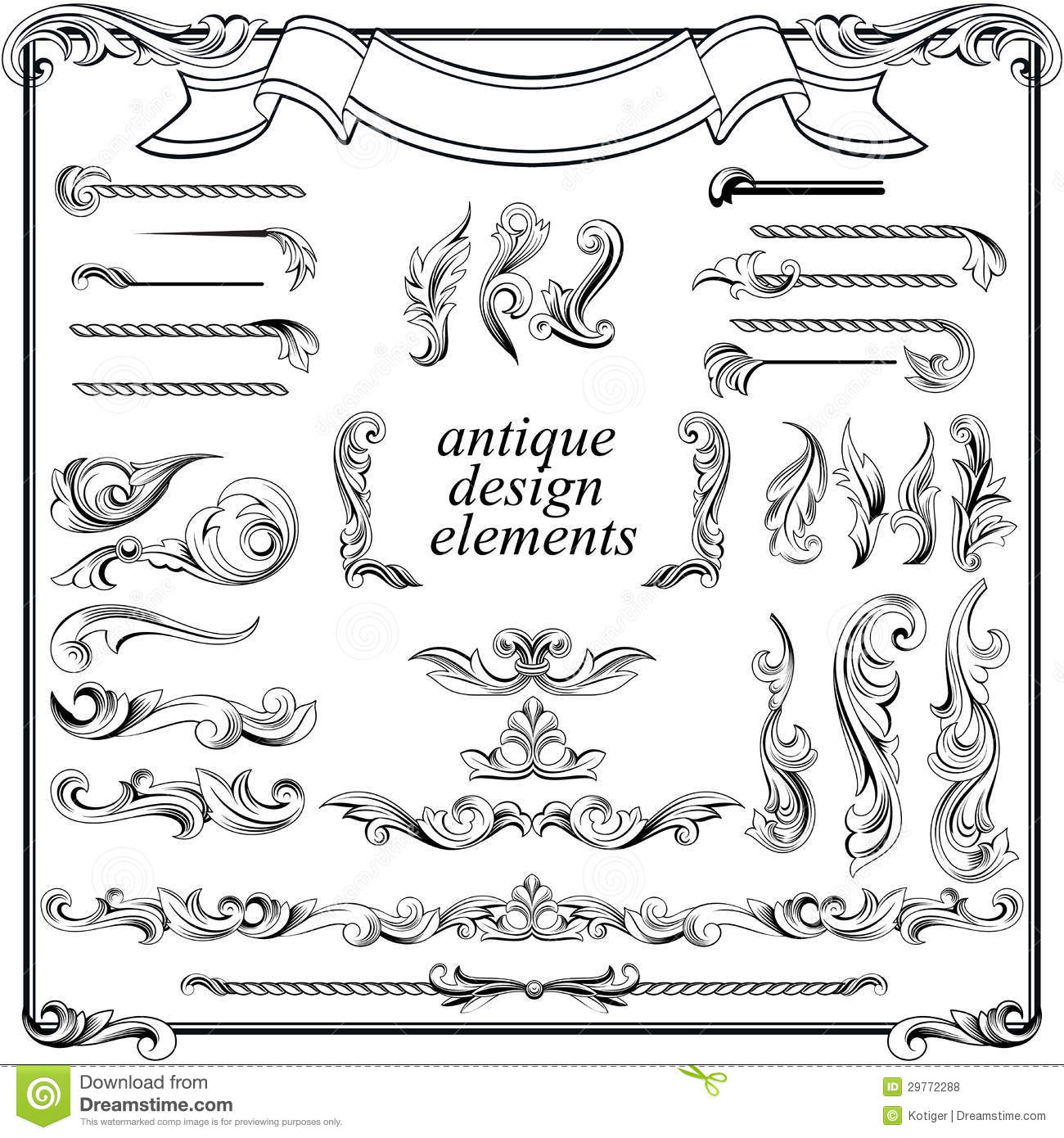 Calligraphic design elements page decoration stock vector