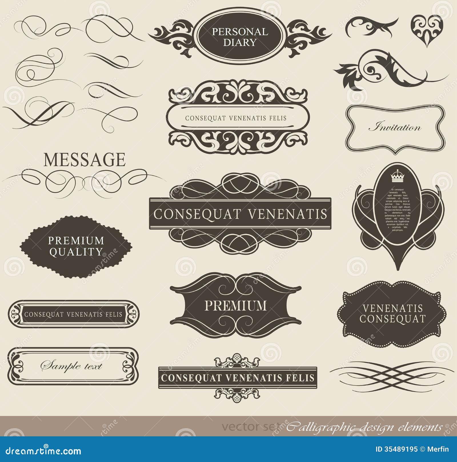Calligraphic design elements stock vector illustration of download calligraphic design elements stock vector illustration of invitation decorative 35489195 stopboris Choice Image