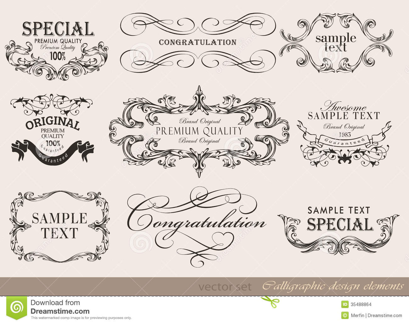 Calligraphic design elements page decoration stock photo