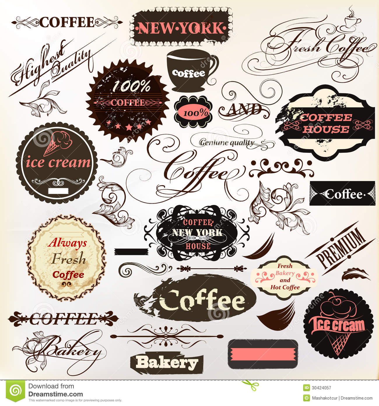 Calligraphic design elements and vintage labels for cafe for Classic house labels