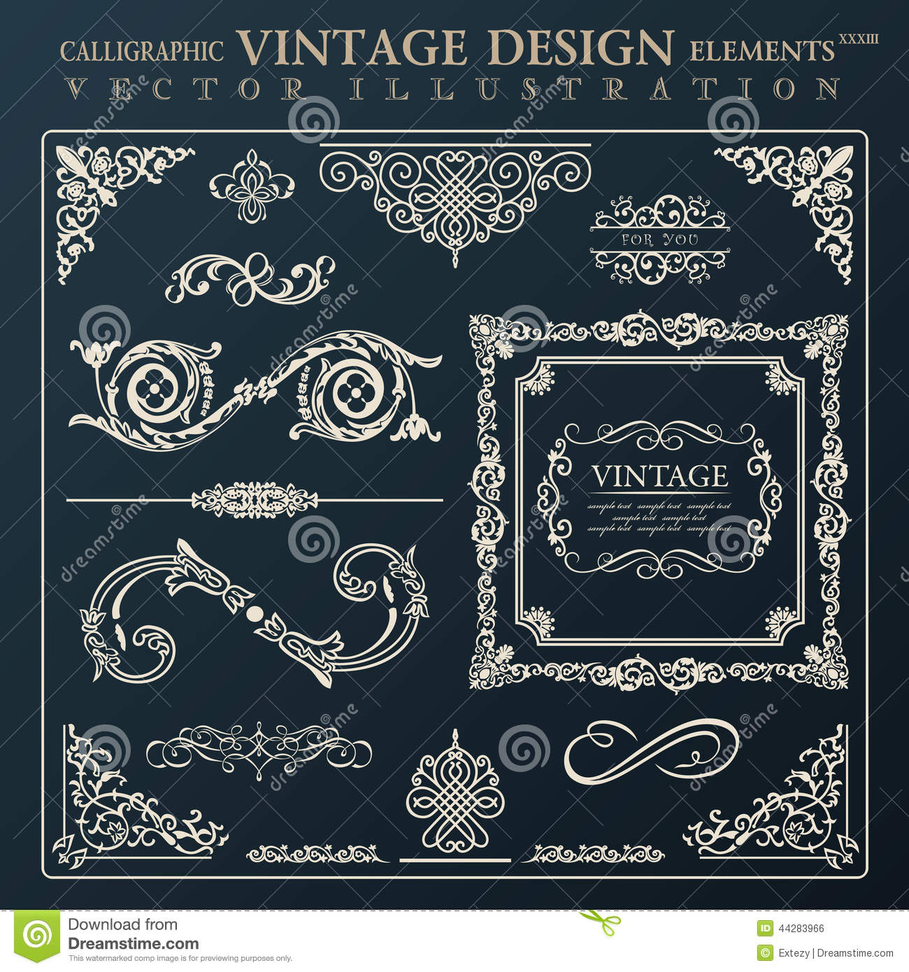 Download free vintage ornaments vintage ornaments and iders - Royalty Free Vector Download Calligraphic Design Elements Vintage Ornament