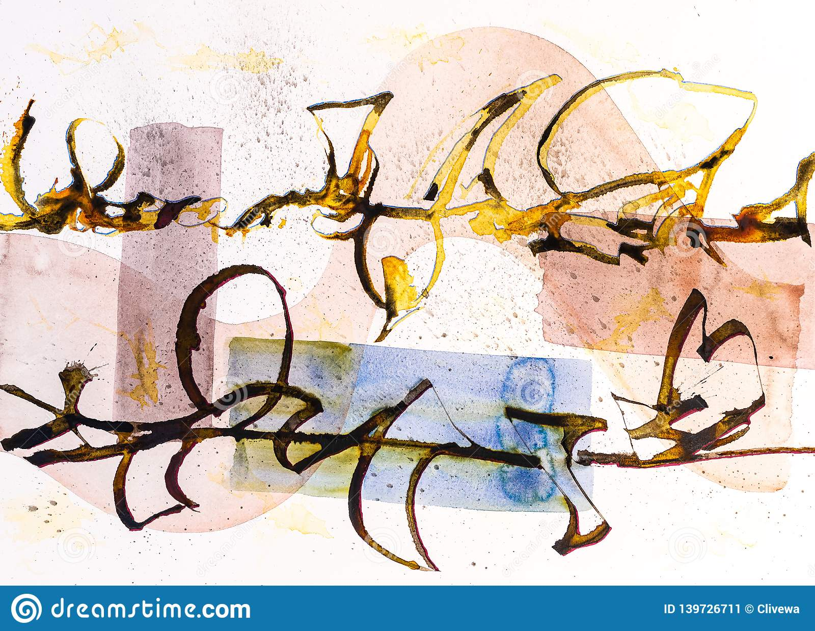 A Calligraphic drawing, Asemic Writing with a Cola Pen giving chaos and mess and splatter on a watercolor background