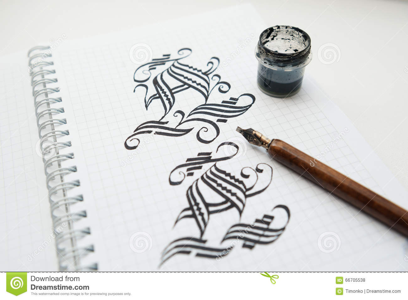 Calligraphic drawings words and pen for calligraphy stock Drawing with calligraphy pens