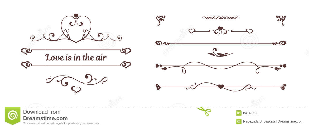 Calligraphic Elements Hearts Isolated On White Background Stock