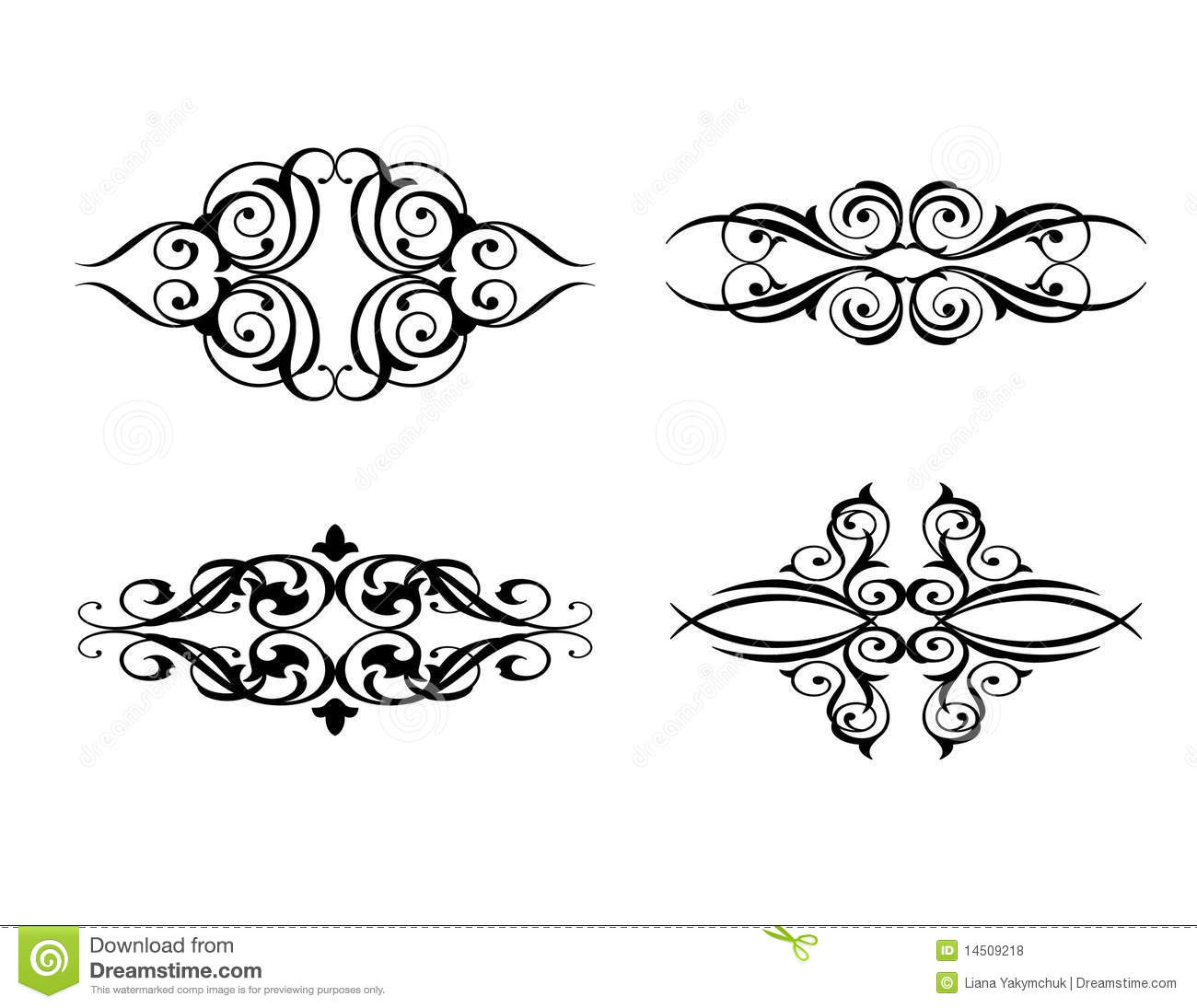 Calligraphic flourishes collection stock vector image