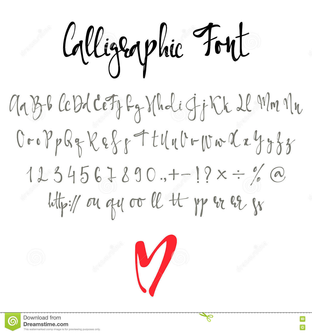 Calligraphic font with numbers ampersand and symbols