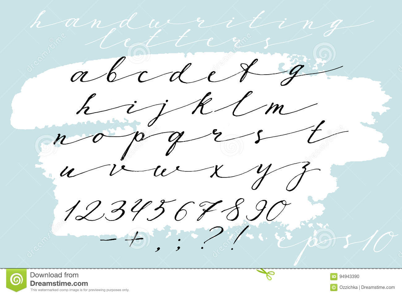 Calligraphic Hand Drawn Font  Handwritten Alphabet In Elegant Brush