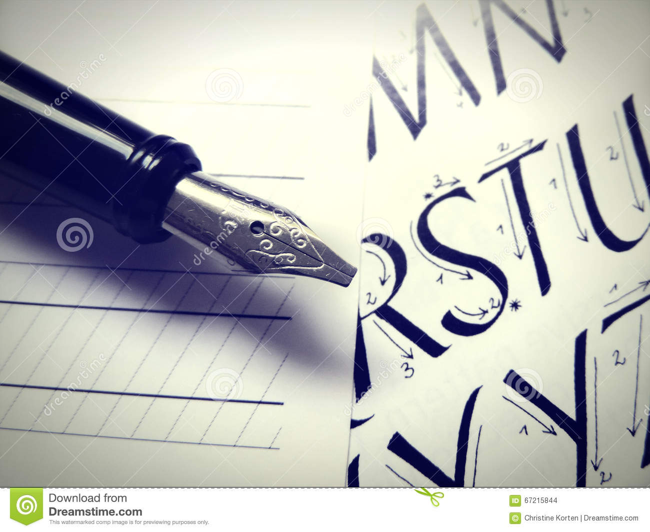 Calligraphic letters and fountain pen