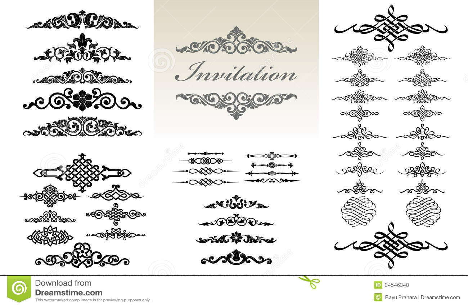 Calligraphic Amp Ornament Design Set Stock Vector Image
