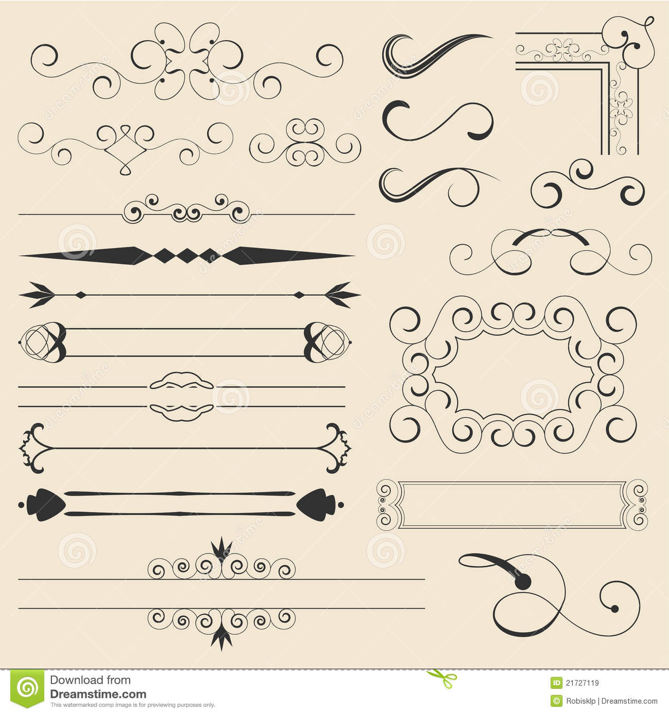 Calligraphic Page Decorations Stock Vector Image 21727119