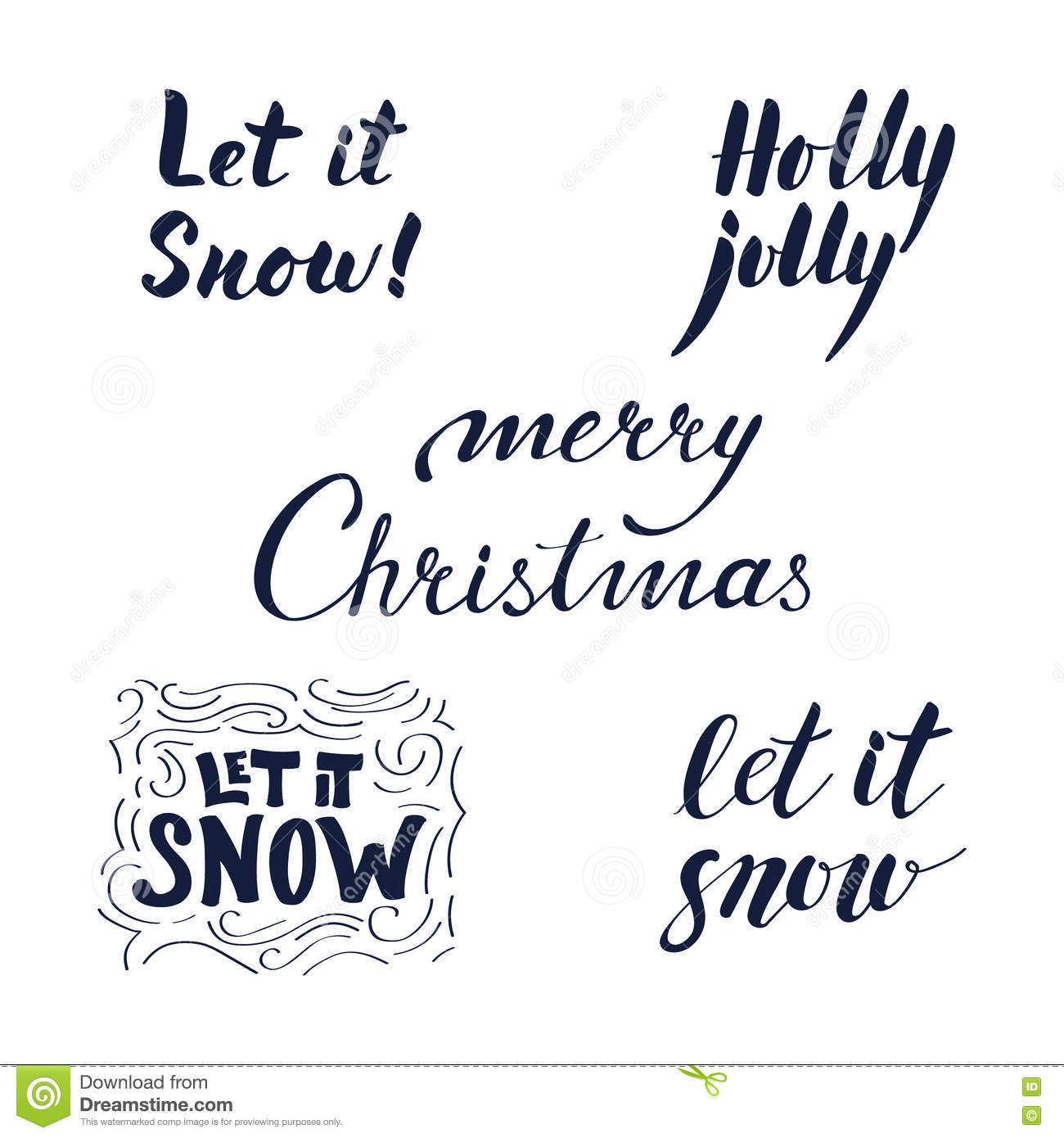 Calligraphic Phrases Set For Christmas And New Year. Stock Vector ...
