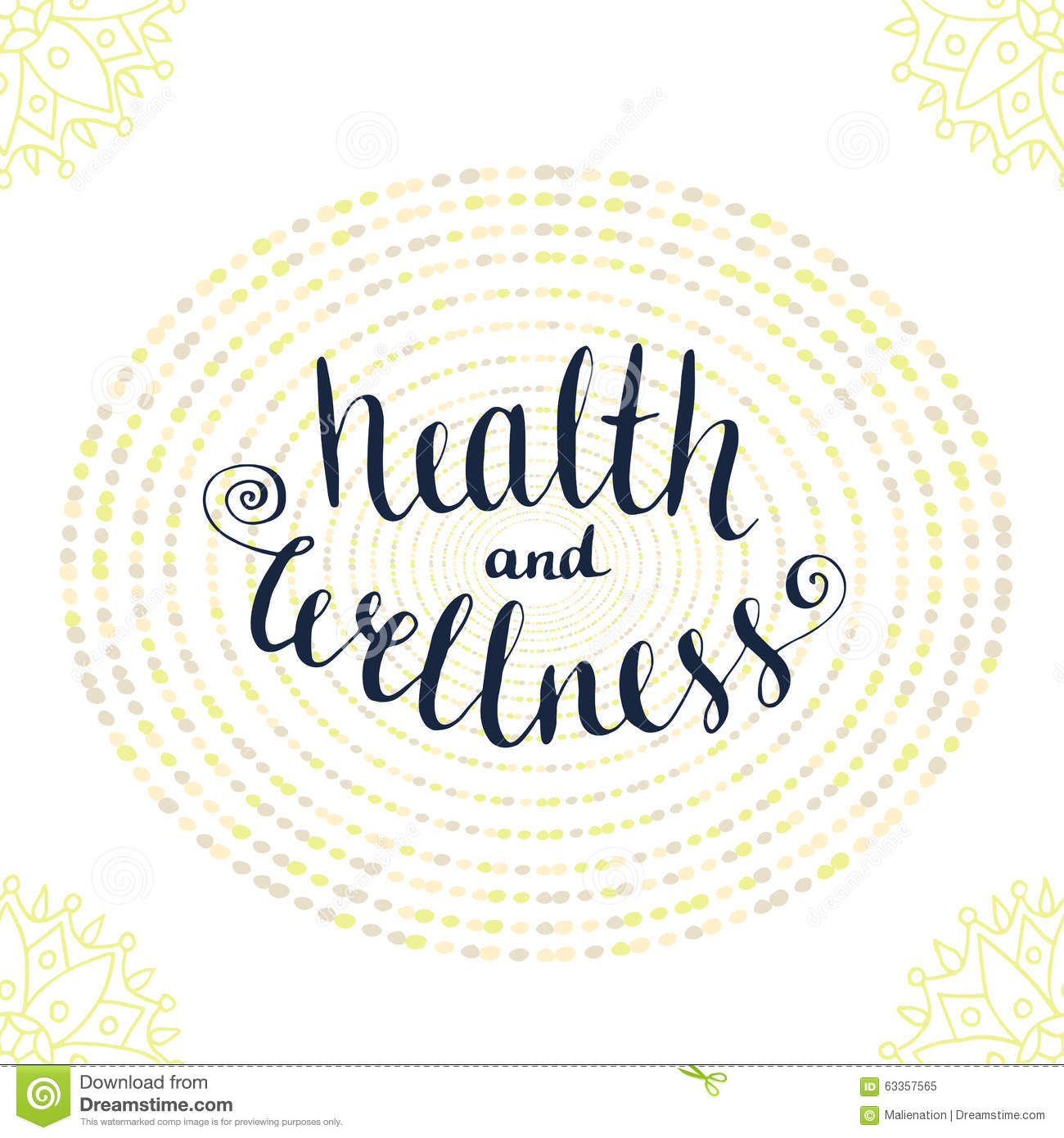 Health And Wellness: Calligraphic Poster With Phrase