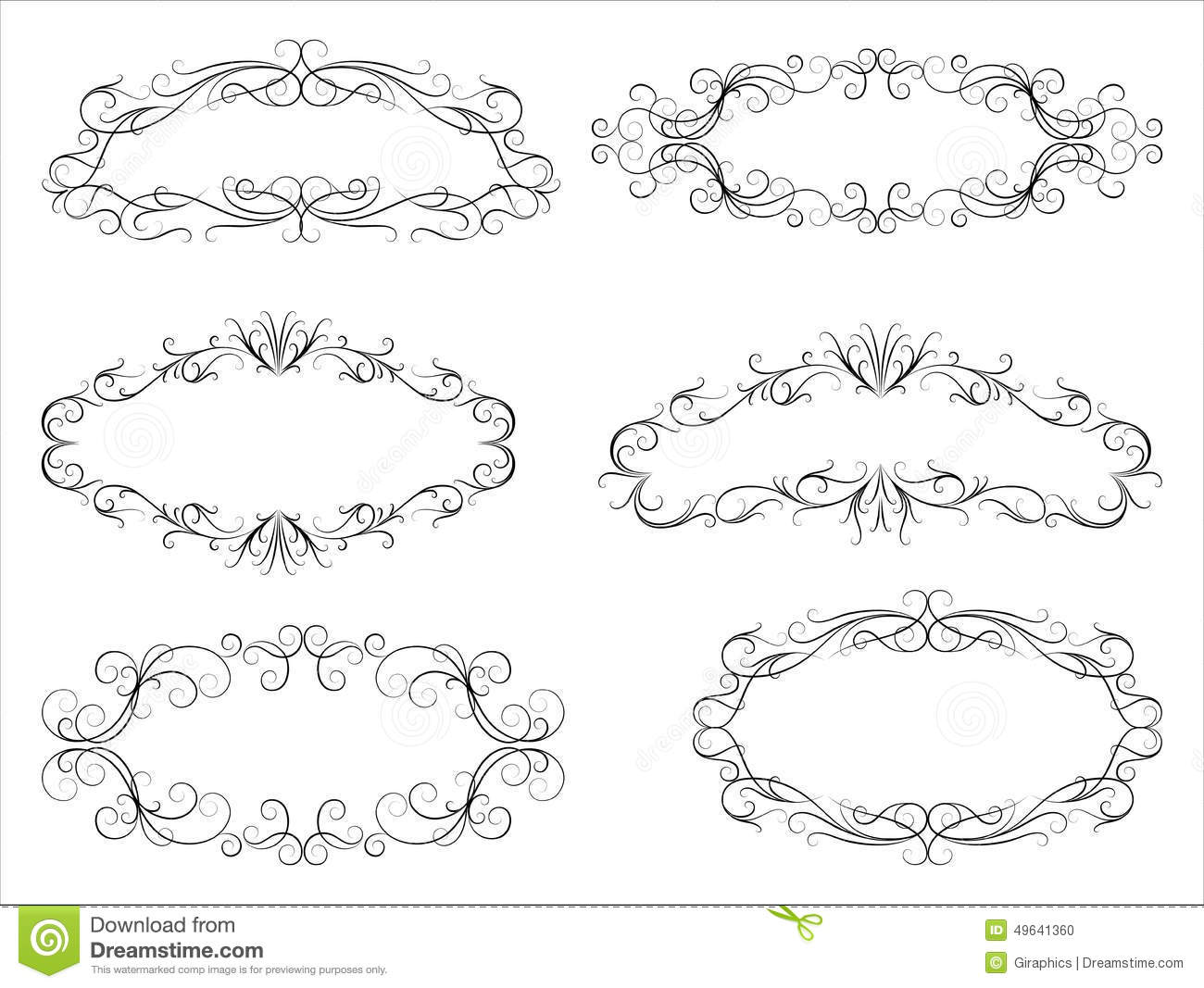 Calligraphic Scroll Frames stock vector. Illustration of certificate ...