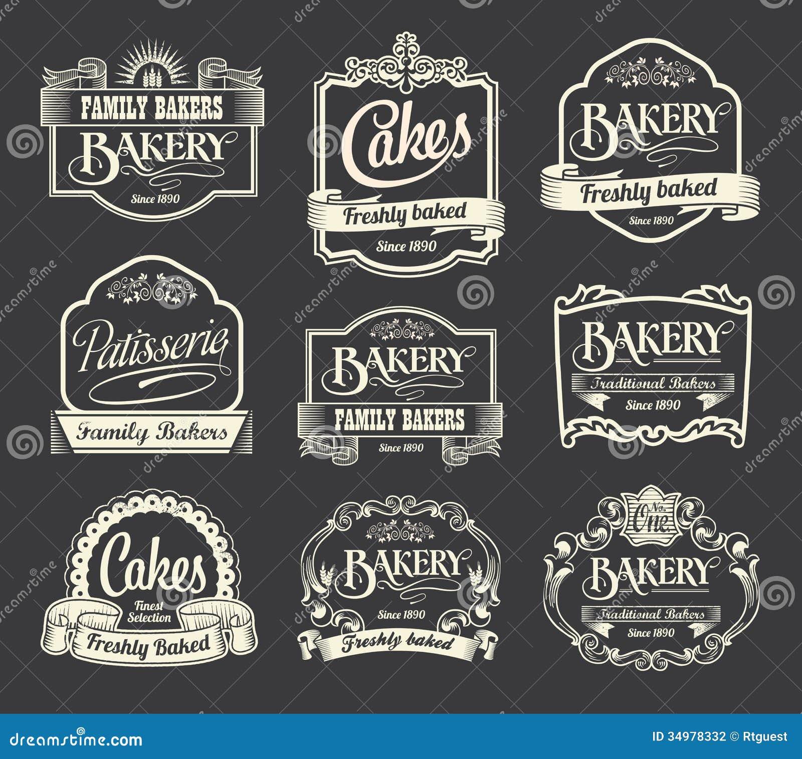 calligraphic sign label design set vintage retro labels signs menus