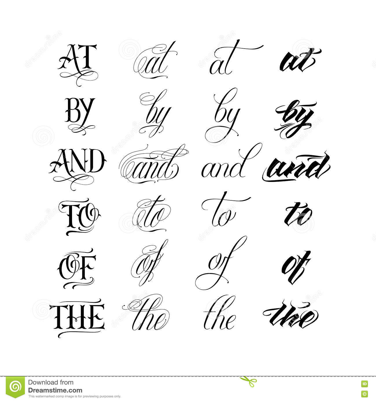 Calligraphic Tattoo Lettering Set Stock Vector - Image: 71810333