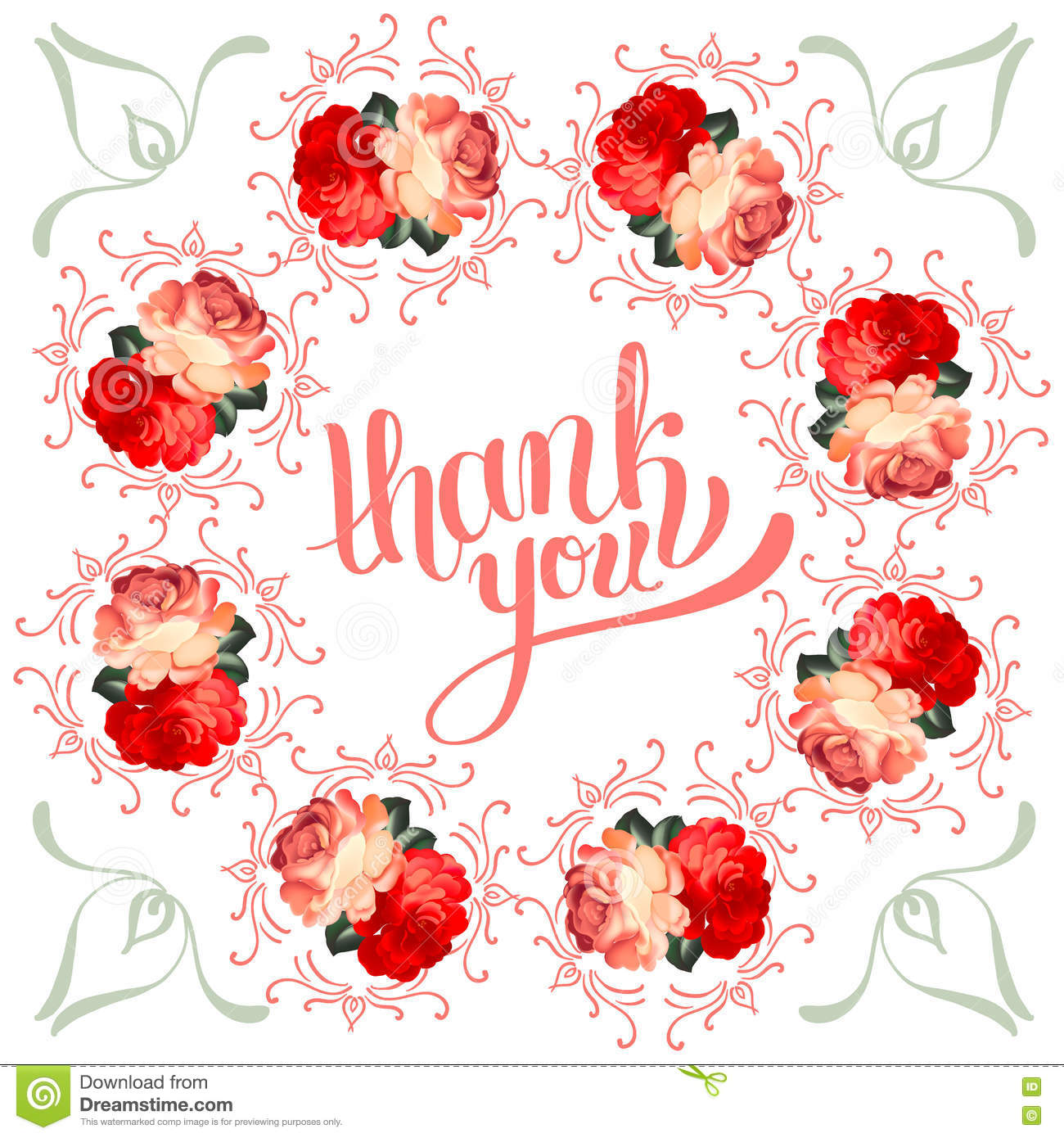 calligraphic thank you post card with beautiful flowers