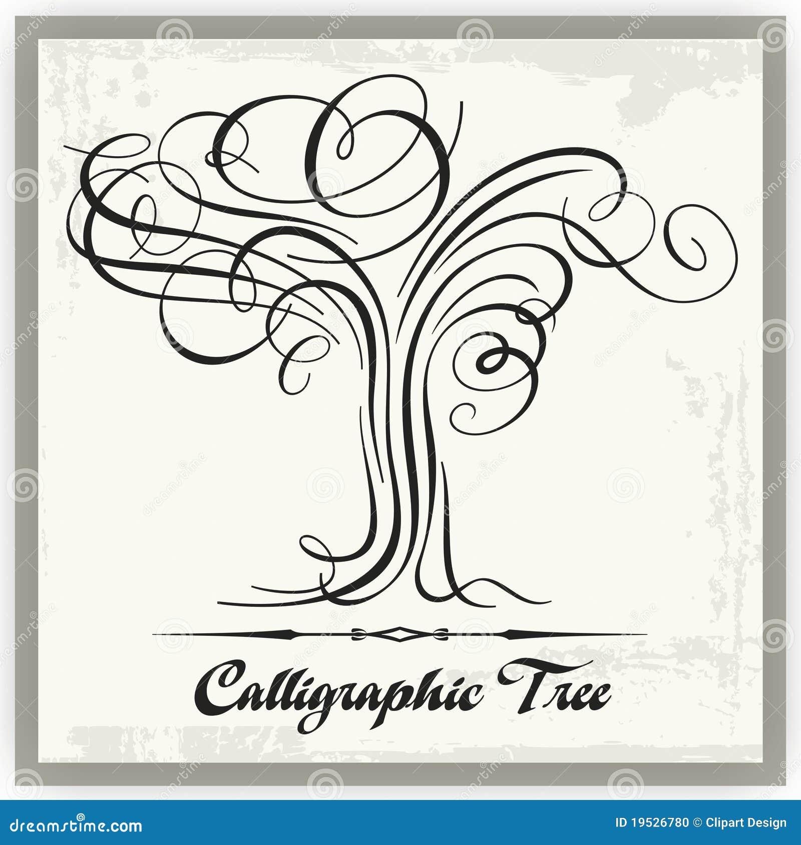 Calligraphic tree stock vector illustration of