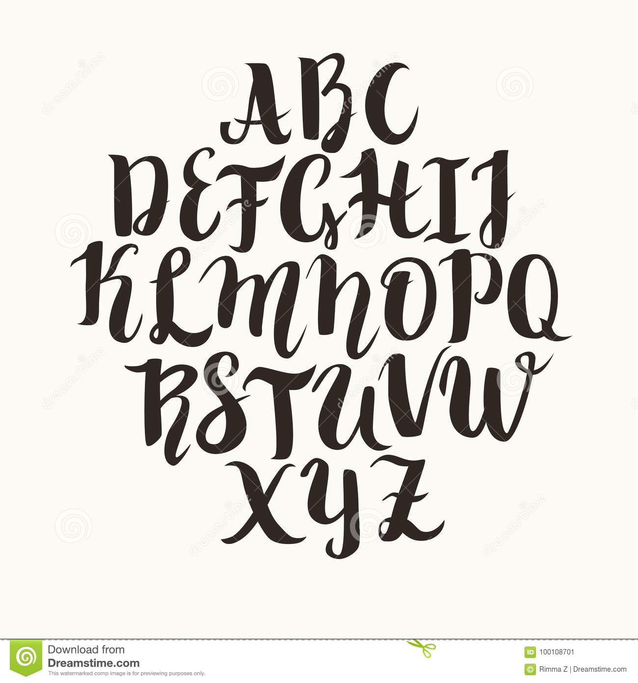 Calligraphic Vector Font Lettering Latin Alphabet Capital Letters Caps Lock Is On Modern Abc Calligraphy Black For You Text Or Logo