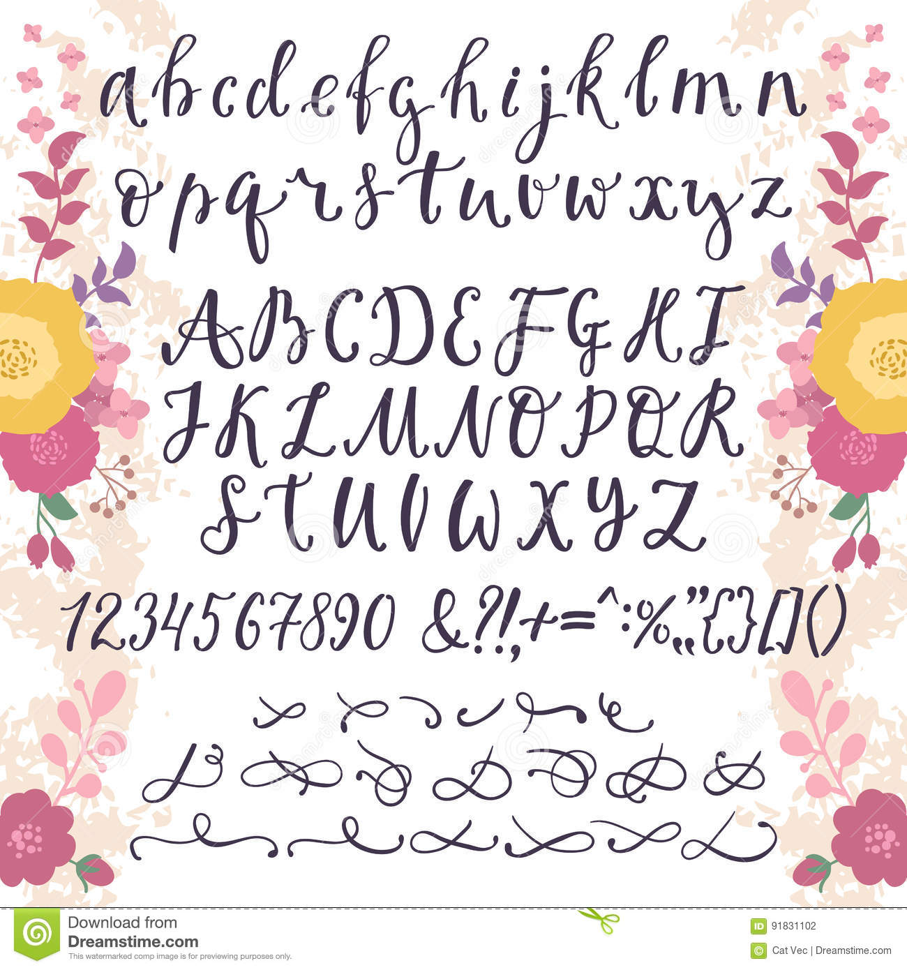 Calligraphic Vector Font With Numbers Ampersand And Symbols Flower Hand Drawn Alphabet Lettering Creative Floral Graffiti Handwritten Type Abc Typography