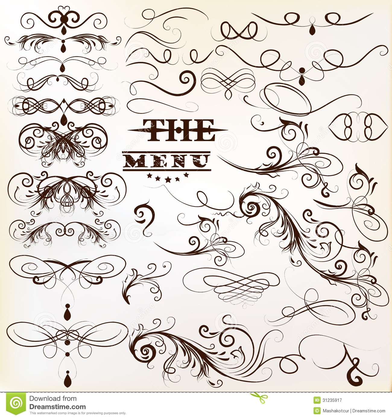 calligraphic vector vintage design elements and page