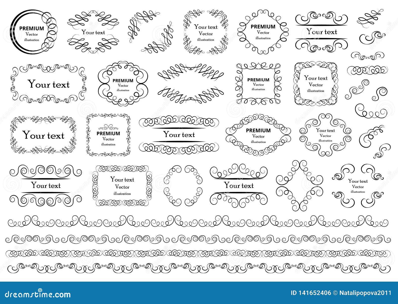 Calligraphic vektor för designelementbild Dekorativa virvlar eller snirklar, tappning inramar, krusidullar, etiketter och avdelar