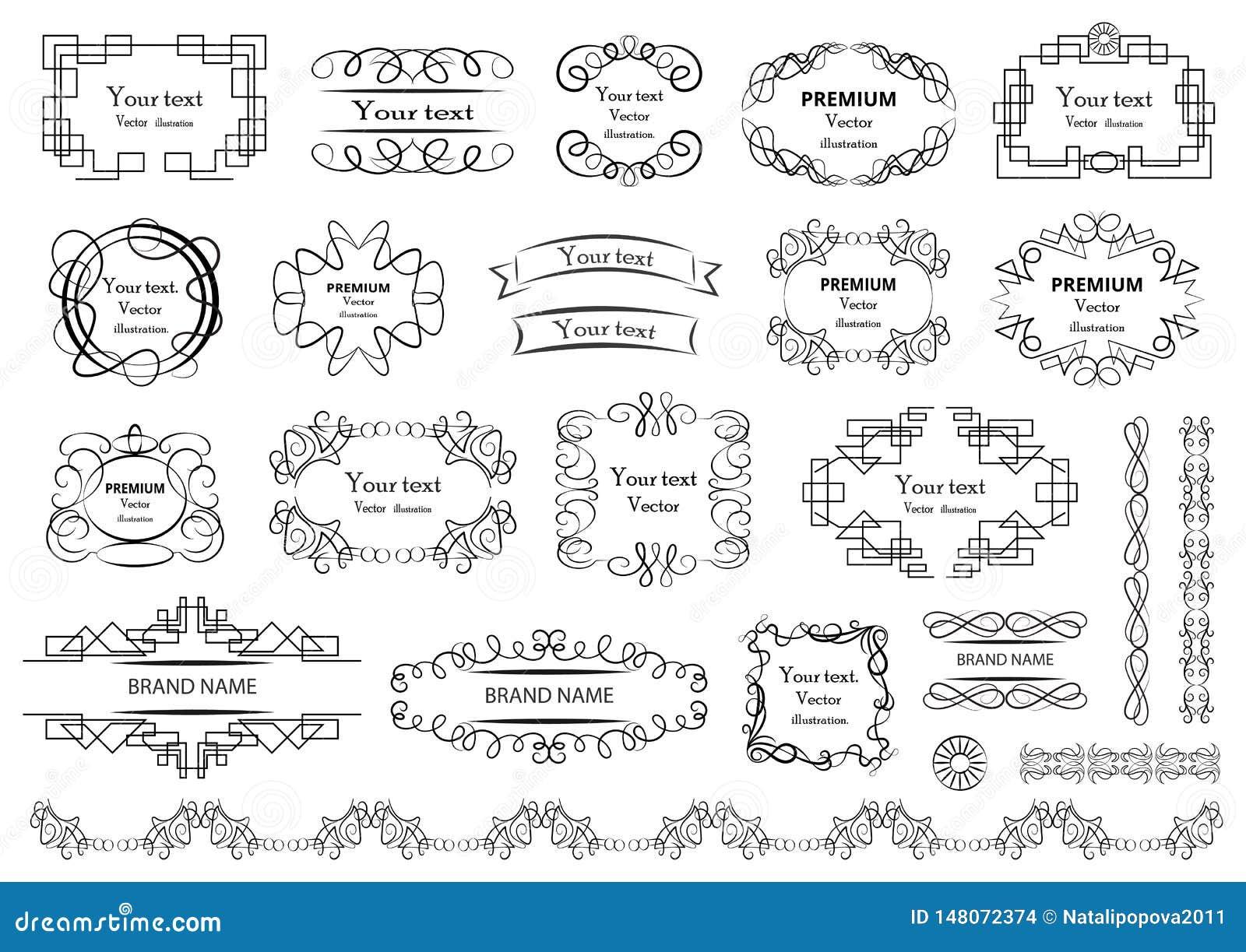 Calligraphic vektor f?r designelementbild Dekorativa virvlar eller snirklar, tappning inramar, krusidullar, etiketter och avdelar