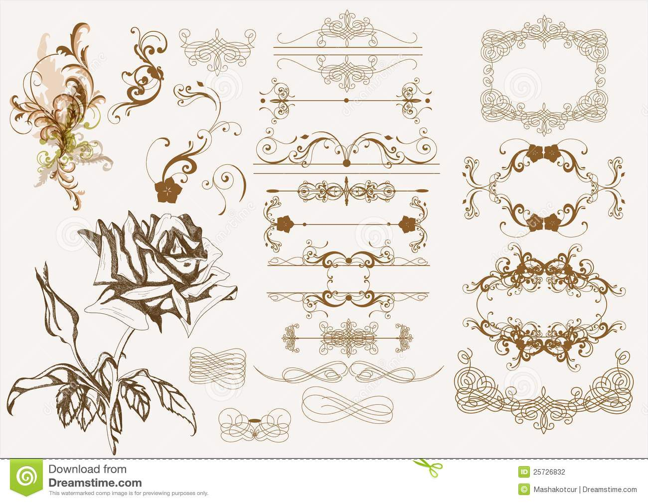 Elements For Design : Calligraphic vintage design elements stock photography
