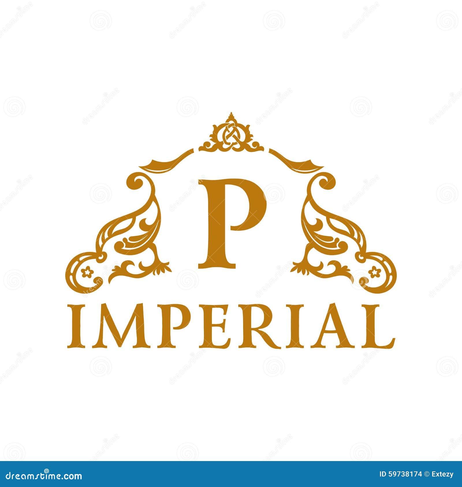 Calligraphic vintage emblem gold decor luxury stock for Decoration logo