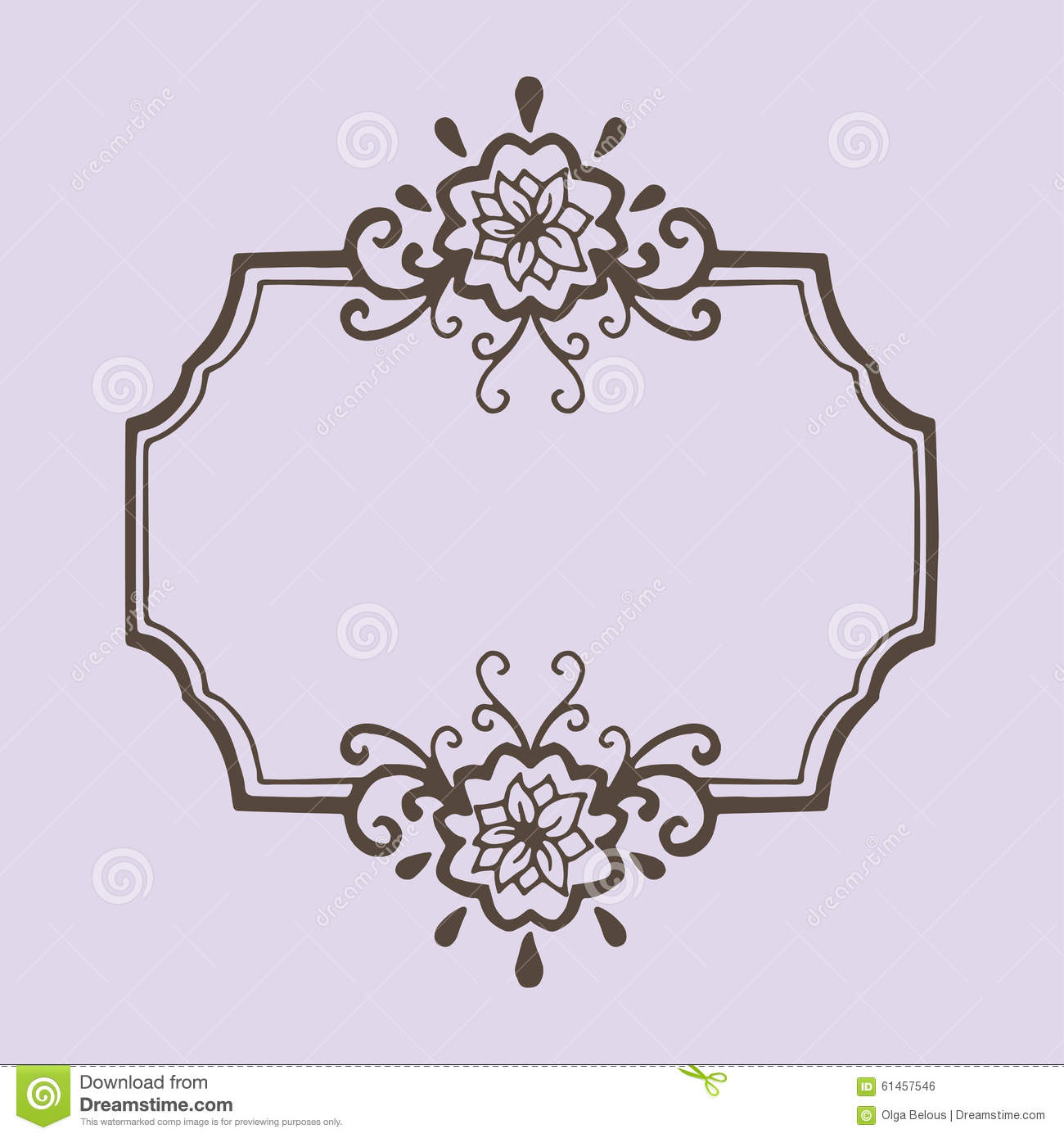 Calligraphic vintage frame with flowers stock vector