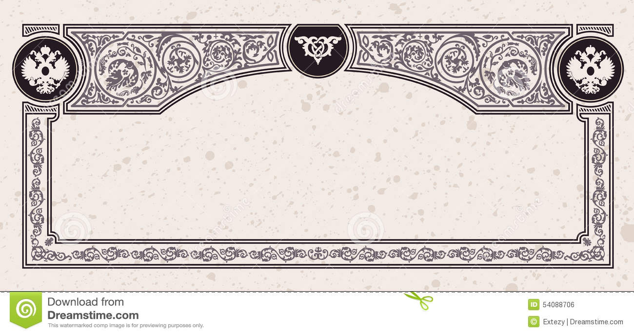Calligraphic vintage frame vector certificate stock for Certificate frame template