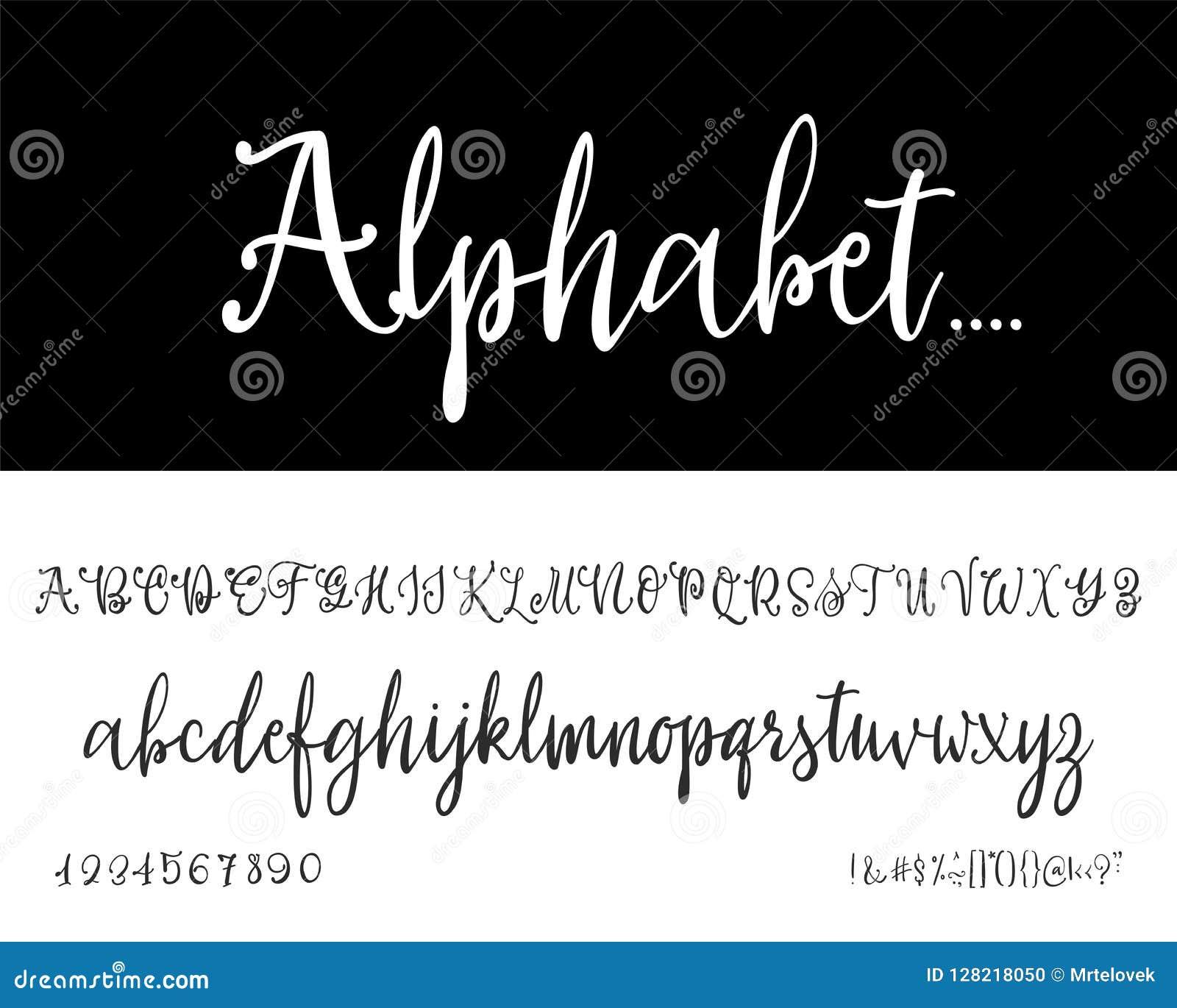 Modern Calligraphy Vintage Handwritten Vector Font For