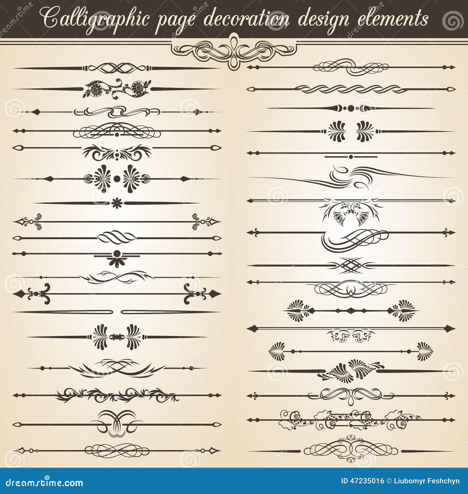 Calligraphic Vintage Page Decoration Design Elements ...