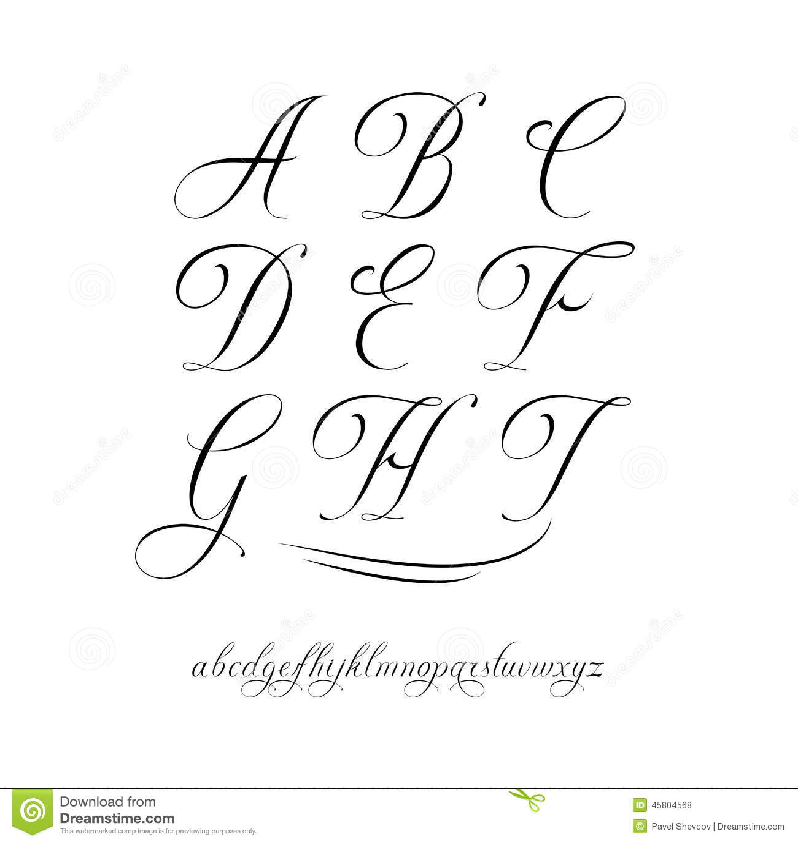 Calligraphy alphabet stock vector image