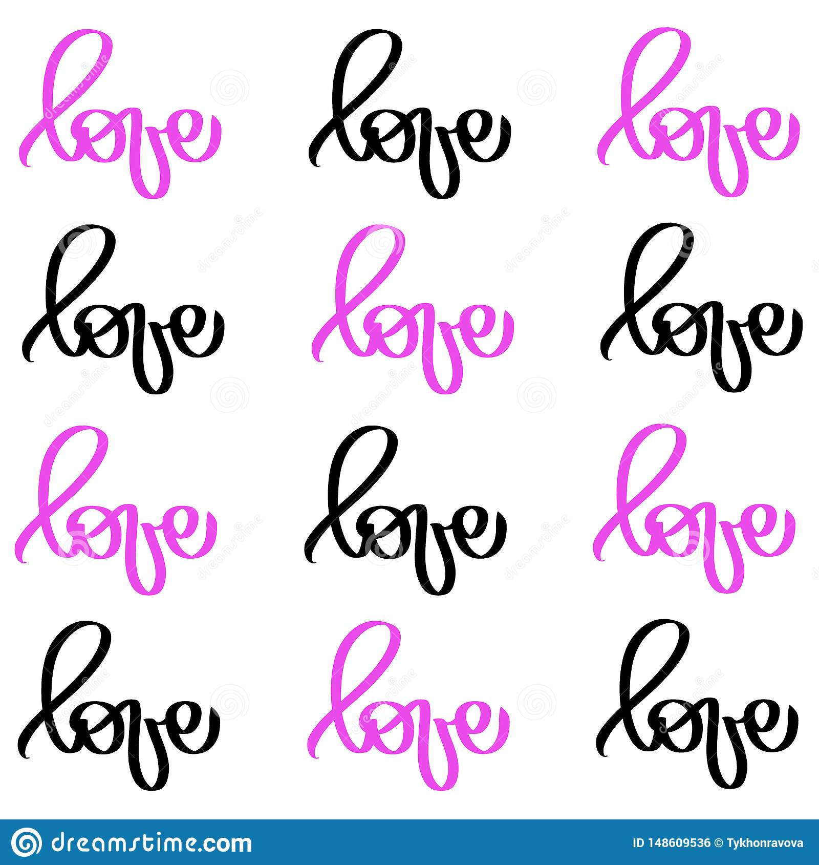 Calligraphy black pink word Love. Vector Valentines Day Hand Drawn lettering. Heart Holiday Design valentine card. love decor