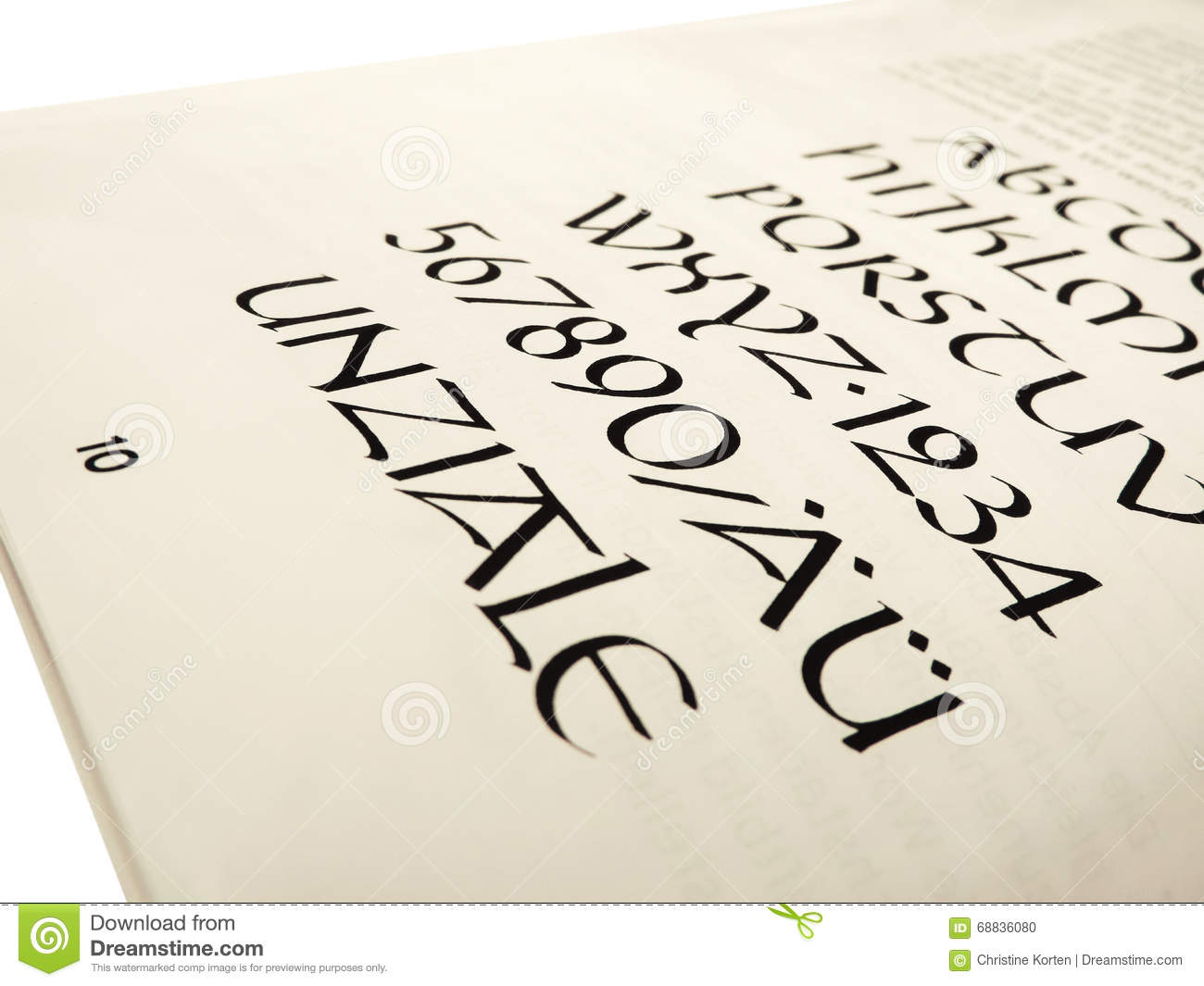Calligraphy book letters stock photo image