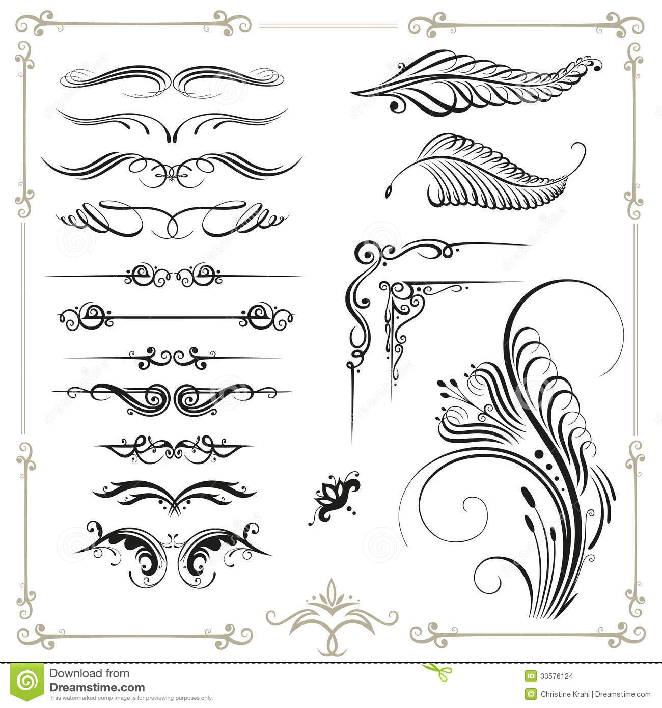 Calligraphy Border Stock Images Image 33576124
