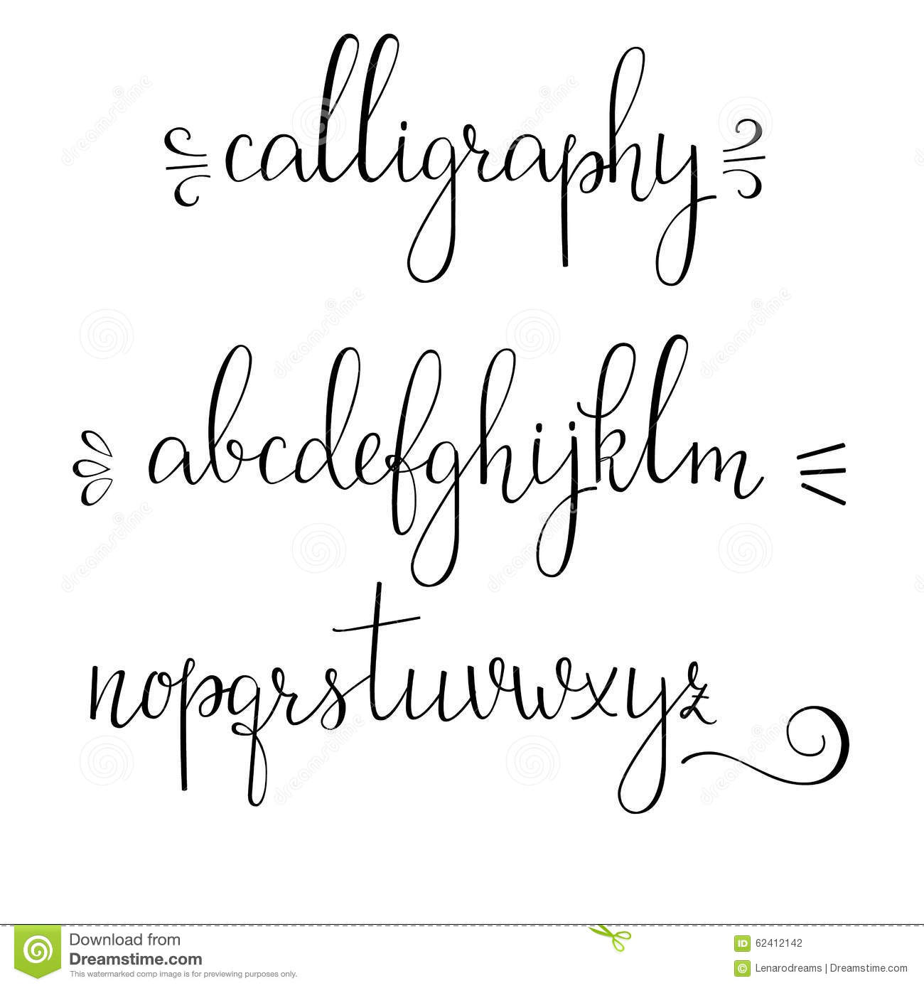 Handwritten Pointed Pen Ink Style Modern Calligraphy Cursive Font Alphabet Cute Letters And Flourishes Isolated Letter Elements