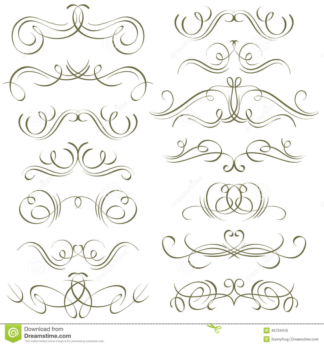 Calligraphy Decorative Borders Ornamental Rules Stock