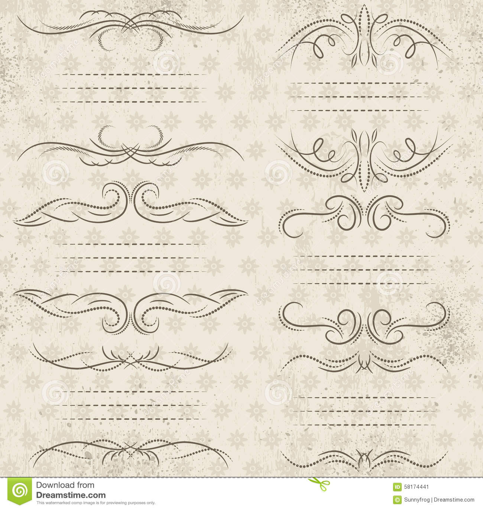 Calligraphy decorative borders ornamental rules dividers