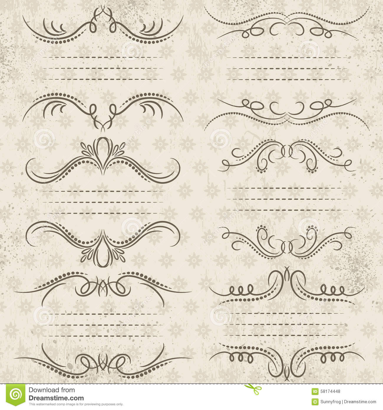 Vintage elements and borders set for ornate and decoration stock - Calligraphy Decorative Borders Ornamental Rules Iders