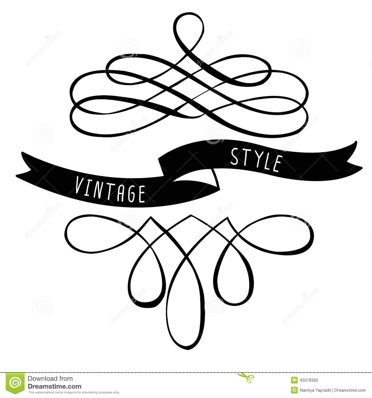 Calligraphy design elements banners and ribbons stock