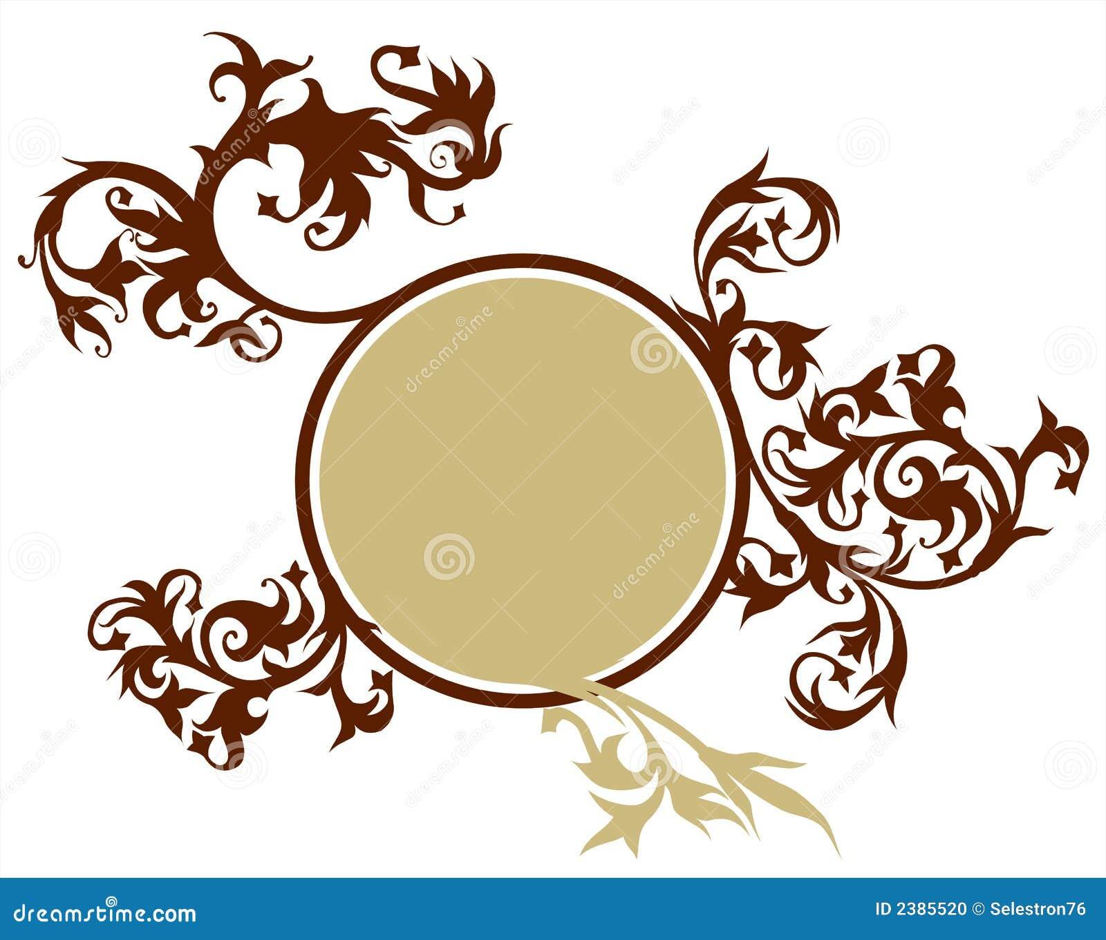 Calligraphy flowers vignette stock vector illustration