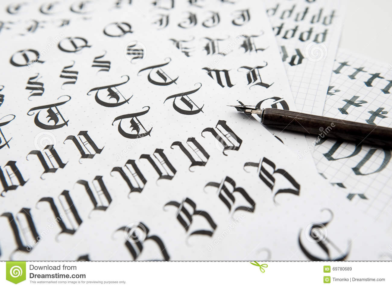 Calligraphy in gothic style the old font texture stock