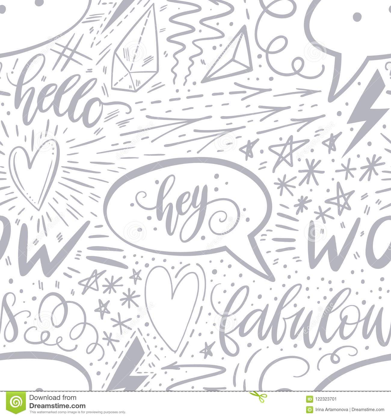 Calligraphy Hand Lettering Seamless Pattern Positive Signs Star Heart Speech Bubbles