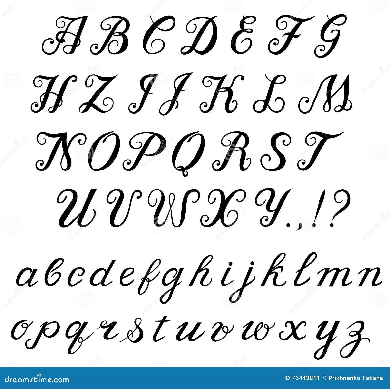 Calligraphy handwritten alphabet stock vector Calligraphy store