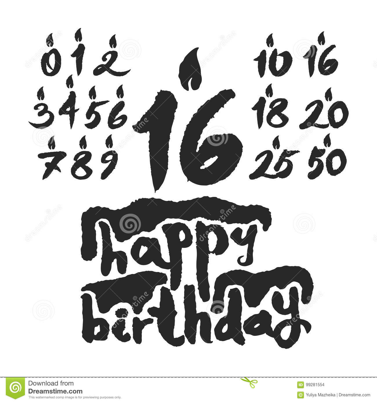 Happy Birthday Cake With Various Candles Numbers For Custom Design Hand Written Calligraphy On White Background Clipping Paths Included