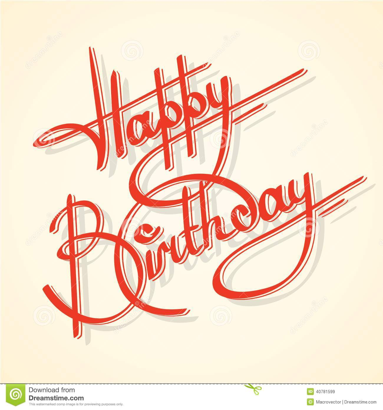 Calligraphy happy birthday ornate lettering postcard template vector ...