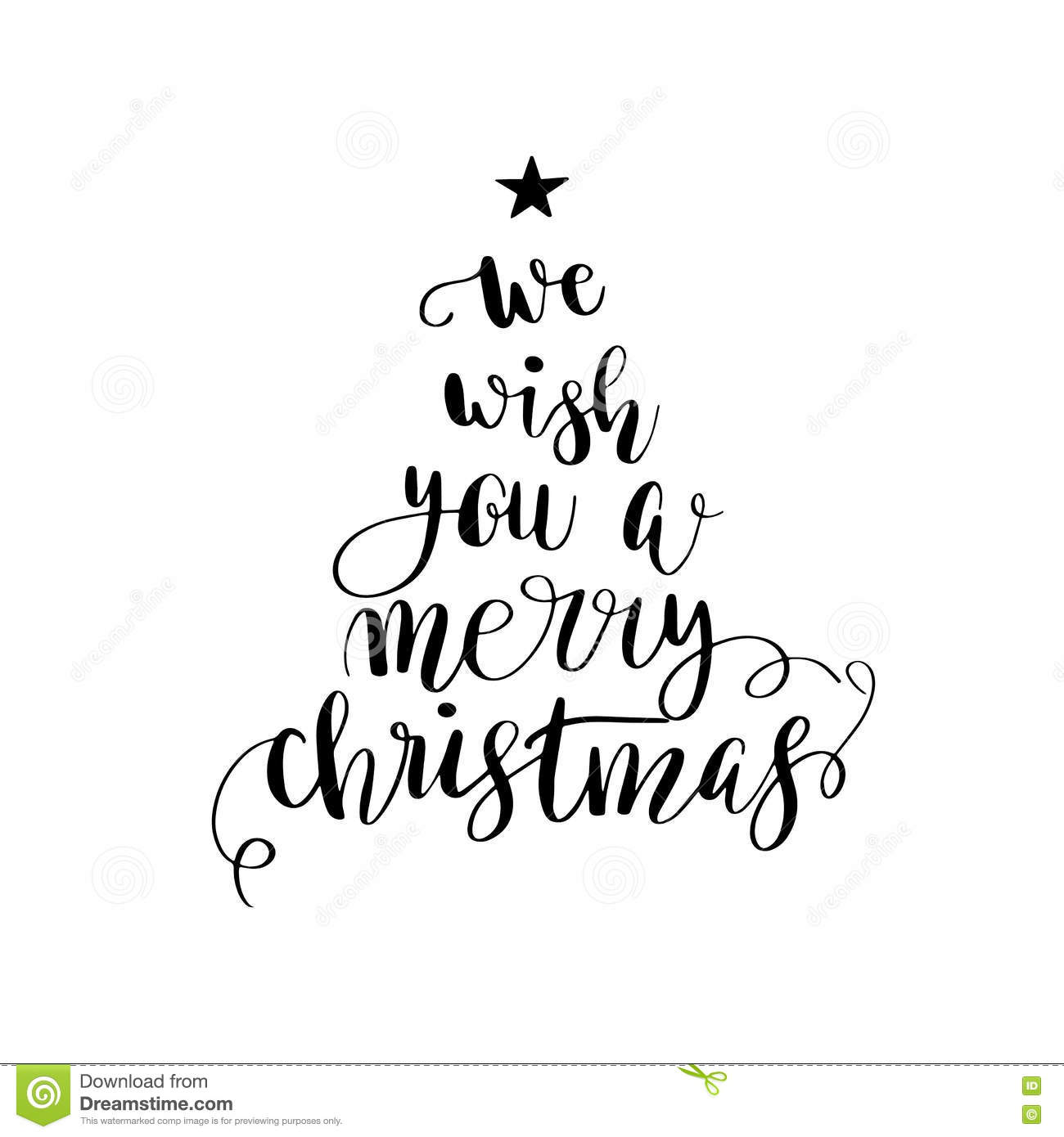 Christmas Calligraphy.Calligraphy Lettering Christmas Tree Stock Illustration